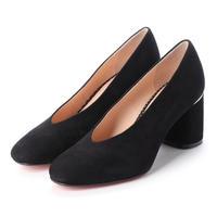 スクエアチャンキーヒールパンプス/ Square Chunky Heel Pumps L0202(BLACK)