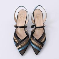 チュールコンビネーションスリングバックヒールパンプス / Tulle combination sling back heel pumps L0216 (MULTI)