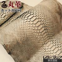 ヘビ革【一匹】ラッセル ベージュ×焦茶/半ツヤ仕上げ/Dパイソン背割り/ 0369