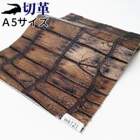 ワニ革・クロコダイル【A5】アンティーク仕上げ/ブラウン/Aランク/wk121