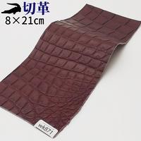 ワニ革・クロコダイル【8×21cm】マット仕上げ/ワインレッド/Aランク/wk871