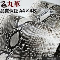 ヘビ丸革【長さ320cm・品質保証A4×4枚】Dパイソン/腹割/白×黒/ツヤ/pf200