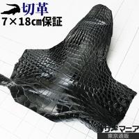 クロコダイル・アゴ部分【切革・7×18㎝保証】黒・ツヤ強 / 8830