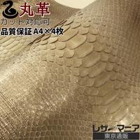 ヘビ丸革【長さ320cm・品質保証A4×4枚】 Dパイソン背割り/シャンパンゴールド/pf975