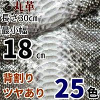 ヘビ【長さ30㎝切革/最小幅18㎝】Dパイソン/背割/ツヤあり/25色/pk4-18