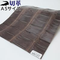 ワニ革・クロコダイル【A5】マット仕上げ/チョコ/Cランク/wk127