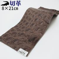 ワニ革・クロコダイル【8×21cm】マット仕上げ/チョコ/Aランク/wk879
