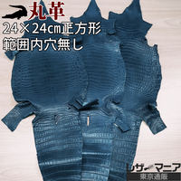 クロコダイル革【一匹・24×24㎝穴無し】藍色/ツヤ弱/8827
