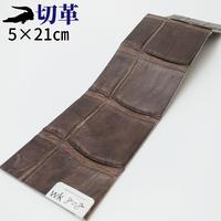 ワニ革・クロコダイル【5×21cm】マット仕上げ/チョコ/Aランク/wk808