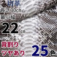 ヘビ【長さ30㎝切革/最小幅22㎝】Dパイソン/背割/ツヤあり/25色/pk4-22