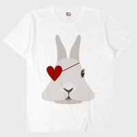 ハートのウサギ Tシャツ ホワイト