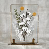 紙の花屋asanochiaki「クラスペディアとコットンのブーケ」