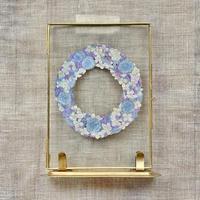 紙の花屋 asanochiaki「ルリタマアザミと紫陽花のリース 」