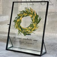 紙の花屋 asanochiaki「ミモザのリース」スタンド