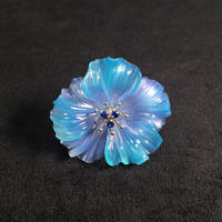 Sea Blue Chalcedony Flower Pin Brooch