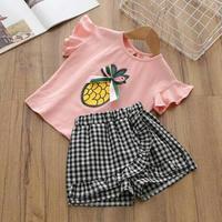 (即納♡)(kids☆)パイナップルTシャツ&ギンガムチェックパンツ2点SET(ピンク)