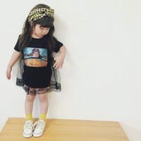 (即納♡)(kids☆)フォトプリントチュールドッキングワンピ (ブラック)