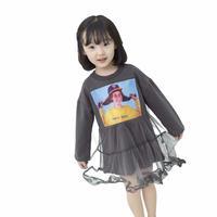 (即納♡)(kids☆)フォトプリントチュールドッキングワンピ (グレー)