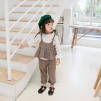 (即納♡)(kidS)デザイントップス&グレンチェックキャミ&パンツ3点SET  (ブラウン)