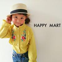 (即納♡)(kids☆)襟フリル刺繍イエローシャツ