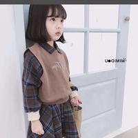 (即納♡)(kids☆)チェックシャツワンピ+ブラックベスト付  (ブルー)