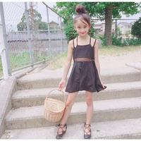 (即納♡)(kids☆)バッククロスレースワンピース(ブラック)