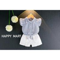 (即納♡)(kids☆)ストライプシャツ&ホワイトショーパン 2点セット