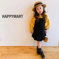 (即納♡)(kids)ドットトップス&ブラックワンピース2点セット♡(マスタード)