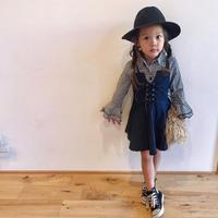 (即納♡)(kids☆)ギンガムシャツ&デニムキャミワンピ―ス2点SET