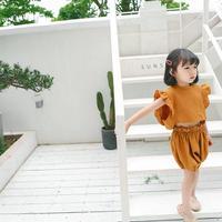 (即納♡)(kids☆)袖フリルトップス&パンツset(チェスナット)