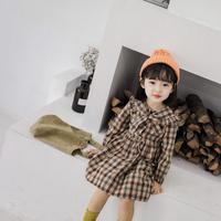 (即納♡)(kids☆)(秋新作♡襟リボン付チェックワンピース
