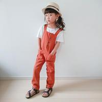 新作★(即納♡)(kids☆ブラウンボタン付サロペット
