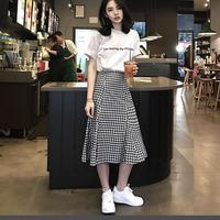 (即納♡)(レディ―ス)ホワイトロゴTシャツ&チェックスカート2点セット