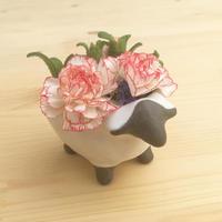 もりひつじの花器 (子ども ホワイト)フローラルフォームセット【受注制作】
