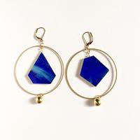 色ガラスと真鍮のフープピアス/イヤリング Glass and Brass earrings