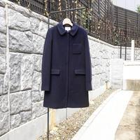 ステンカラーウールコート/ネイビー/38サイズ