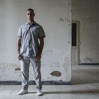 Men'sコットンシャツ(ホワイト)/HannohWessel/Mサイズ