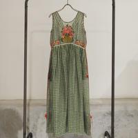 ETTA Selection リネン100%ハンド刺繍/ノースリーブドレス/オリーブグリーン