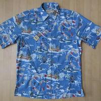 Cooke Street マリン柄 コットン アロハ シャツ S ブルー+グレー系 綿100% クックストリート ハワイアン 海 サーファー ウクレレ 魚 花 【deg】