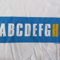 90's ケイ ローゼン FOTOFOLIO ABCDEFGHI BOX ロゴ Tシャツ M白KAY ROSENボックス メッセージ 言語 アルファベットART芸術 現代美術 美術館【deg】