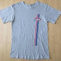90's GUESS 半袖 ストライプオーバルロゴ Tシャツ S ヘザーグレー ゲス HIP HOP RAP【deg】