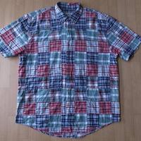 EDDIE BAUER パッチワーク 半袖 BDシャツ M エディーバウアー【deg】