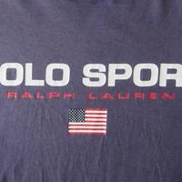 90's USA製 POLO RALPH LAUREN SPORT ポロ バイ ラルフローレン 星条旗 Tシャツ XL ナス紺【deg】