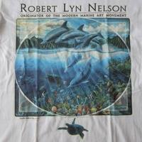 90's USA製 ロバート リン ネルソン Tシャツ S 白 Robert Lyn Nelson マリン アート Two Worlds Lee ダイビングART芸術 現代美術【deg】