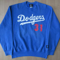 90's USA製 ロサンゼルス ドジャース STARTER Mike Piazza #31 スウェット L ブルー系Los Angeles Dodgers野球LA野茂英雄【deg】
