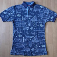 90's TOMMY HILFIGER セーリング 図面 半袖 ポロシャツ S MURO トミーヒルフィガー【deg】