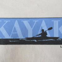 00's メキシコ製 L.L.Bean KAYAK BOXロゴ Tシャツ M ライトベージュ系 エルエル ビーン カヤック カヌー ボックス
