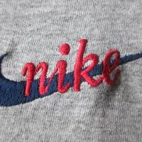 90's USA製 NIKE 筆記体 刺繍 リンガー 長袖 Tシャツ M ヘザーグレー ネイビー系 ナイキ スクリプト スウォッシュ 風車NSW MADE IN U.S.A.【deg】