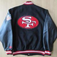 90's サンフランシスコ フォーティナイナーズ STARTER袖革 スタジャンL XL位San Francisco 49ers Joe Montanaジョー モンタナ【deg】