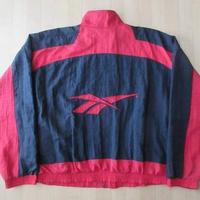 90's Reebok バックロゴ ナイロン ジャケット 黒 赤 リーボック【deg】